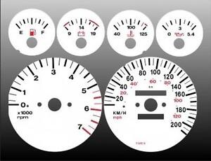 1992-1995 Jeep Grand Cherokee Metric KPH Dash Cluster White Face Gauges