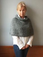 Alpaca cape Knit Wool poncho Wool knit wrap Knit capelet poncho Alpaca poncho