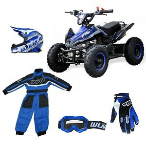 """Kids Quad Bike Falcon 49cc Big 6"""" Tubeless Wheel Safety switch PACKAGE BLUE"""