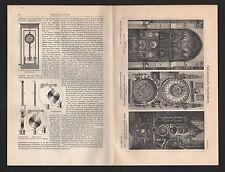Lithografie 1909: Kunstuhren. Olmütz Prag Straßburg Elektrische Uhren.