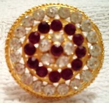 Beautiful brand new gold color ring with faux rubies and faux diamonds