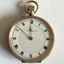Antique 9ct Solid Gold Thomas Russell Ladies Fob / Pocket Watch Not Working