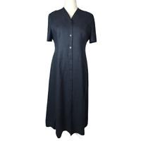 Laura Ashley Button Down Navy Blue Dress Size 16 Linen Cotton Embroidered Trim