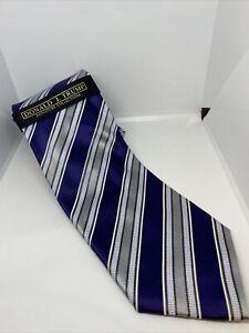 New Donald Trump Tie Signature Blue White Silver Stripe Satin Luxury Silk NWT