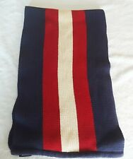 Vintage Tommy Hilfiger Fleece Scarf Flag Logo Red Blue White 68 x 10 Inches