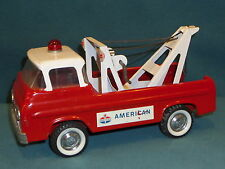 "VINTAGE NYLINT TOY TOW TRUCK AMERICAN OIL FORD ON WHEELS PRESSED STEEL 11"" LONG"
