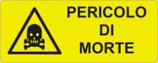 """2 TARGHETTE ADESIVE ISO 7010 """"PERICOLO DI MORTE"""" SEGNALE SICUREZZA IMPIANTI"""