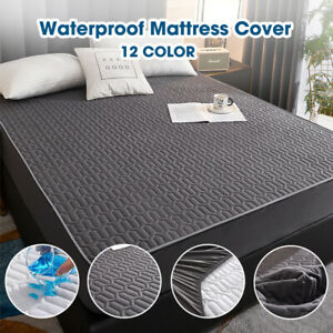 Quilted Mattress Cover Bed Protector Fitted Sheet Bedspread Waterproof Dustproof