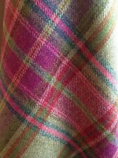 TRADITIONAL WOOL TARTAN TWEED FABRIC WOVEN IN SCOTLAND  140x50cm - GREEN/PINK