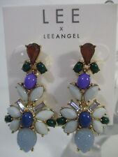 Lee By Lee Angel Mutli Color Cabochon Chandelier Earrings NWT $68 BLUE