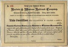 Norfolk & Western Railway Stock Certificate Railroad Southern Unissued