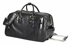 Wheeled REAL LEATHER Holdall BLACK Telescopic Handle Weekend Cabin Travel Bag