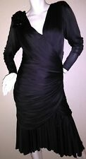4838c1a7 Vintage Black Tadashi Size 10 Formal Gown Dress Layered Flapper Sexy  Embellish