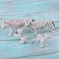 Lifelike Animal Figures White Tiger Family Model Kids Toy Desktop Ornaments