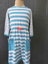 Hanna Andersson Dress Sweater Pockets Girls Sz 130 8-10 Gray Blue Striped