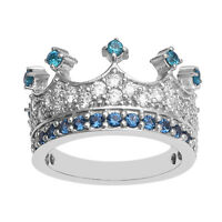 Blue & White CZ Stone Tiara Crown Eternity Stackable Unisex Band Ring 925 Silver