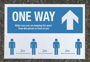 Social Distancing 'ONE WAY' Ahead arrow signage 600 x 400mm tough exterior grade