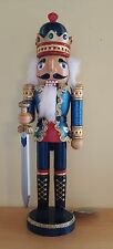 Nutcracker King Blue Guard Soldier Glitter Jewels 15'' Christmas Bejeweled