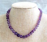 Vintage Graduated Hand Strung Purple Amethyst Bead Necklace/Choker - Marvella