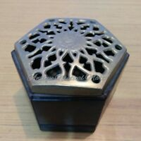 Hexagon Shaped Rose Wood Box Brass Lid Handmade Decorative