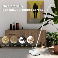 EYLIDEN MANUAL CARPET SWEEPER 4 ROLLERS CORDLESS RUG CLEANER DUSTER BROOM-White