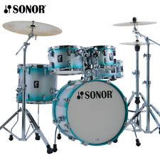 SONOR Aq2 Aqua Silver 5pc Lacquer Studio Drum Shells Bags | Authorized Dealer