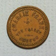 The Dalles Oregon Charlie Frank Good for 5c Trade Brass 21mm Token