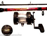 Shakespeare Firebird Boat Fishing Rod & Multiplier Boat Reel Sea Fishing & Line