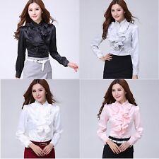 Women Victorian Chiffon Button Down Ruffle Shirt Lace Flounce Long Sleeve Blouse