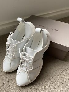 Charles and Keith Women White Fashion Sneakers Shoes Size US6.5 EU37 Like New