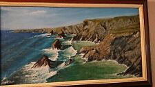 Signed Original Oil Painting seascape coastal Bedruthan steps