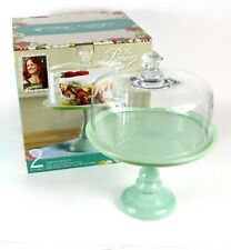 "Pioneer Woman Timeless Beauty 10"" Pistachio Pedestal Cake Stand w/ Glass Cover"