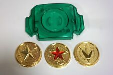 Master Morpher Green Lens & Set of 3 Power Gold Coins Ranger Cosplay Prop