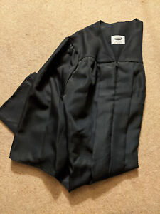"""Jostens Graduation Cap & Gown, Black, Size 5'4""""-5'6"""" (used once)"""