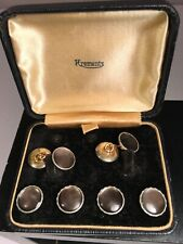 Gold Tone & Black Box 6 Pieces Vtg Krementz Tuxedo Cufflinks Cuff Links Silver &