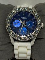 Fossil ES2871 Stella Womens White Silicone Analog Dial Genuine Wrist Watch Ee156