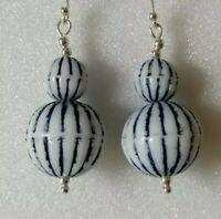 Vintage Czech Pressed Glass Blue White Stripe Drop Dangle 925 Silver Earrings