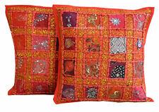 Indian New Cushion Cover Set of 2 Pillow Cotton Patchwork Zari Handmade Art_d5