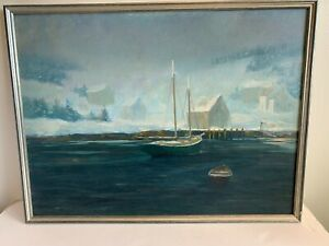 OIL PAINTING BY KENNEBUNK ARTIST FRANK HANDLEN SEASCAPE NAUTICAL SNOWY DAY ON RI