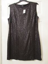LADIES BLACK SEQUIN SPECIAL OCCASION SHIFT DRESS SIZE 22 NEW WITH TAGS