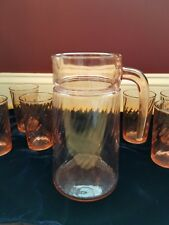 Pale Pink depression glass water lemonade Pitcher with 6 glasses ribbed design
