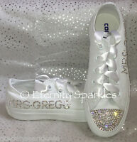 Customised/Personalised White Mono Crystal Bling Sparkle Wedding Bridal Converse