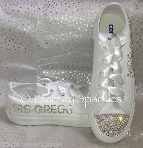 Customised/Personalised Mono White Crystal Bling Sparkle Wedding Bridal Converse