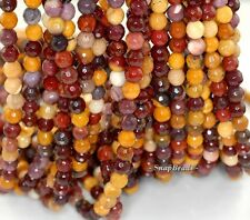 6MM MOOKAITE GEMSTONE YELLOW BROWN FACETED ROUND 6MM LOOSE BEADS 7.5""