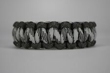 550 Paracord Survival Bracelet Cobra Gray/Grayscale Camping Military Tactical