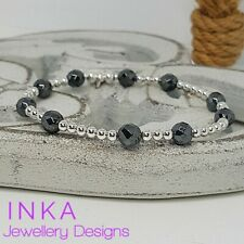 Inka 925 Sterling Silver & Faceted Hematite bead Stacking Stretch Bracelet