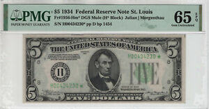 1934 $5 FEDERAL RESERVE STAR NOTE ST. LOUIS FR.1956-Hm* MULE PMG GEM UNC 65 EPQ