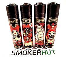 4 Rare Clipper Lighters - Pirates - Carribean Skulls Vintage - Full Set x4 pcs