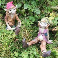 Set of Pixies Garden Decorations Lawn Ornaments Elf Sculptures Figures Gifts