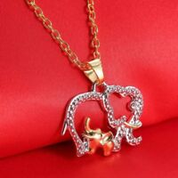 Gold Men For Gift Chain Elephant Jewelry Necklace Pendant Crystal Rhinestone